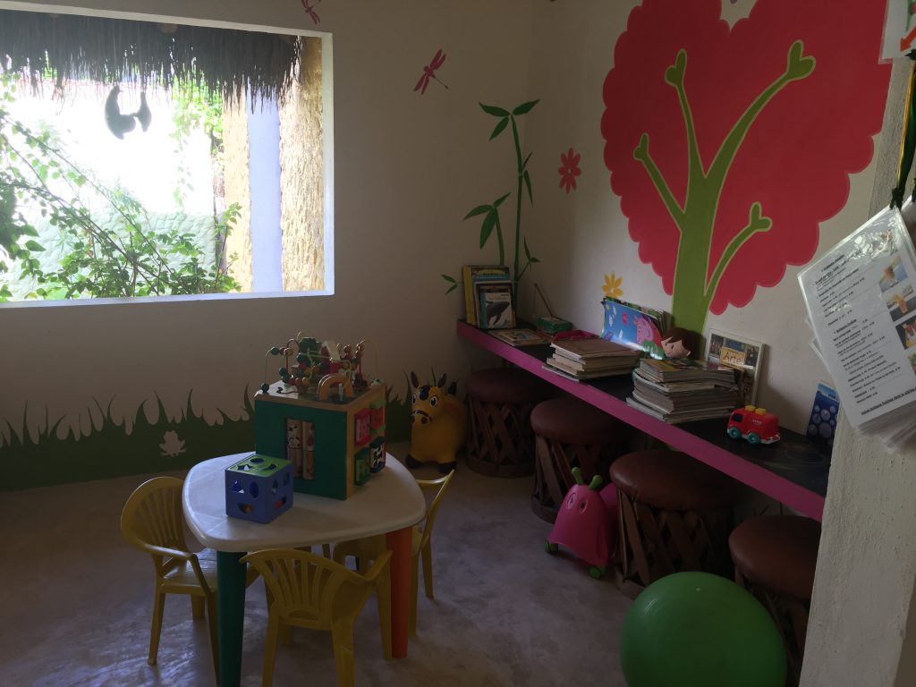 A fun-filled room dedicated for kids is just off the main cafe